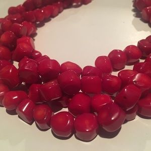 Beaded Costume Necklaces Red (2)